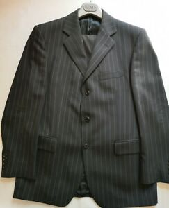 Mens Magee Black Pinstripe Wool Suit 40R