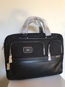 $625 Tumi Alpha 3 Expandable Laptop Organizer Brief Black Leather FXT Ballistic