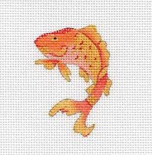 Golden Cloisonne Koi Fish handpainted Needlepoint Canvas by Juliemar