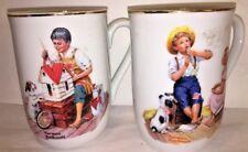 Norman Rockwell Mugs Museum Tea Coffee Kids Vintage 1982 Gold Trim Vintage