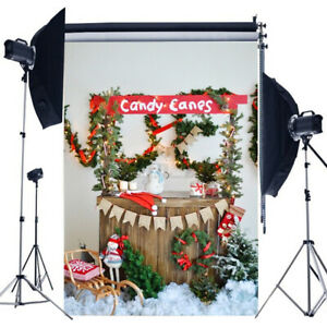 5x7FT Christmas Photography Backdrop Candy Cane Vinyl Studio Background Prop
