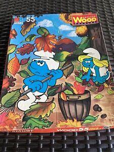 Vintage Smurfs Genuine Wood Puzzle 55 Pieces in Box 1982 Complete