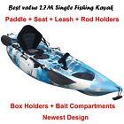 2.7M Fishing Kayak Single Sit-on 5 Rod Holders Padded Seat Paddle Aqua Camo