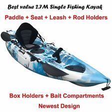 2.7M Fishing Kayak Single Sit-on 5 Rod Holders Padded Seat Paddle Aqua Blue