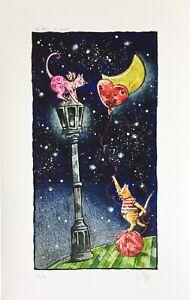 """STEFANO POGGI 46x29 giclée serigrafia su carta """" Un filo d'amore """" gattini"""
