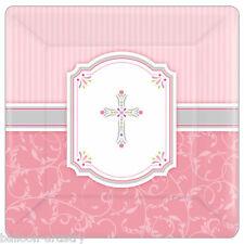 8 Santa benedizione Pink Girl's 1st Comunione Croce parti di grandi dimensioni 25.4 cm piastre di carta