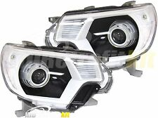 Black & Super White Custom Made Retrofit Headlights For 2012 up Toyota Tacoma
