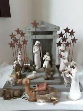 18 Pc Willow Tree Nativity Set Creche Wisemen Shepherd Animals Metal Stars Set