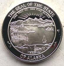 United States 1991 Alaska Seal 1oz Silver Medal,Proof