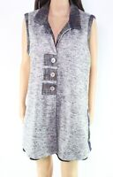 John Mark Women's Sweater Blue Size Large L Collared Reversible Vest $99 #313
