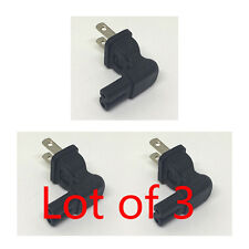 3X 2 Prong Right Angle AC power Plug adapter IEC C7 receptacle to NEMA 1-15P -US
