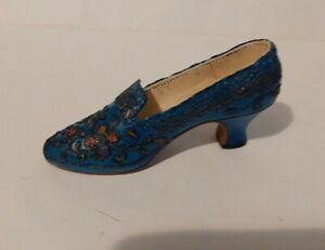 "Collectable Miniature Shoe  ""Just the Right Shoe"" - Blue decorated"