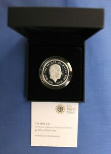 """2008 Silver Proof £5 Crown """"Charles 60th Birthday"""" in Case with COA"""