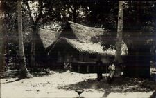 Malaya Malaysia Thatch Roof House c1920 Real Photo Postcard