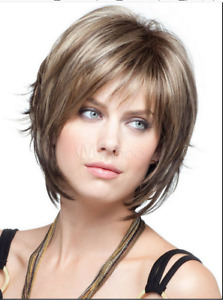 New Wigs Straight Hair Wigs Fashion Light Blond Brown Mix Short Women's Wig