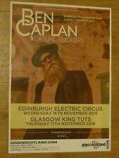 Ben Caplan & The Casual Smokers - Edinburgh/Glasgow nov.2016 concert gig poster
