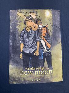 Twilight Saga New Moon 2009 Movie TShirt Sz XL Alaska Moose Mens Promo Shirt T9