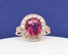 $1,899 14k Rose Gold 4.11ctw Strawberry Tourmaline & G-SI Diamond Ring 4.9g
