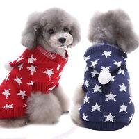 noël imprimé étoiles animal domestique chien chiot col haut chaud vêtements