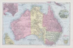 1898 Antique Map AUSTRALIA Plan of Melbourne & Suburbs Adelaide Tasmania (NGA32)