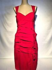 NICOLE MILLER Red Sheath Ruched Ruche Side Pleats Sexy Dress 12 Large