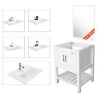 "Bathroom Vanity Mirror W/Drop in Vessel Sink 24"" White Cabin Faucet Drain Combo"