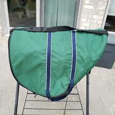 English saddle bag carrier with handles and luggage straps, green/navy