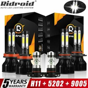 For Chevy Silverado 1500 2500 HD 2007-2015 6000K LED Headlights + Fog Bulbs Kit
