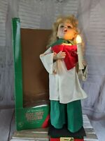 Vintage Crestone Animated Lighted Christmas Choir Girl Moving Arm Head 24″ RARE