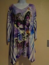 Jostar Women's Side Drop 3/4 Sleeve Tunic Print Small New Made In USA
