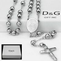 """DG 25"""" Stainless-Steel Silver.Beaded Rosary VIRGIN MARY,JESUS CROSS Necklace.BOX"""