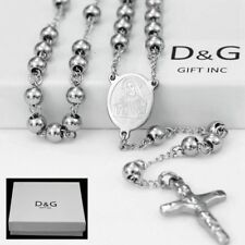 "DG 25"" Stainless-Steel Silver.Beaded Rosary VIRGIN MARY,JESUS CROSS Necklace.BOX"