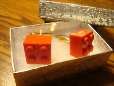 RED LEGO Block Design Cuff links 1 Pair (Two) Hamilton Gold Plated $3.00