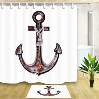 Rustic Nautical anchor Waterproof Fabric & 12 Hooks Bathroom Shower Curtain 71""
