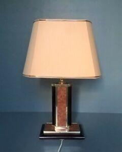 De Schuytener ~ Lampe design ~ Années 70 ~ Loupe d'orme, bois laqué, laiton doré