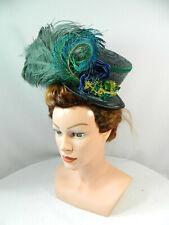 Midi Damenhut Zylinder grau grün Pfau Victorian Headpiece Gothic Steampunk Hat