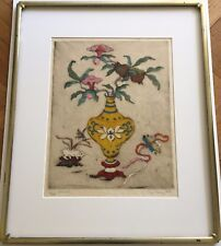 "LOVELY, ELYSE ASHE LORD (BRITISH 1900-1971) COLORED ETCHING ""YELLOW JAR"" & FRAME"