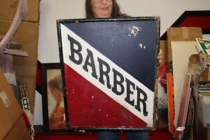 """Vintage 1930's Barber Shop Gas Oil 24"""" Wood Sign"""