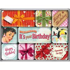 """say it 50´s - Happy Birthday ""Vintage Magnetico Set 9 pezzi/frigorifero magnete"