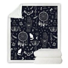 Cat Palm Skull Witchcraft Moon Sherpa Plush Throw Blanket Fleece Bed Sofa Couch