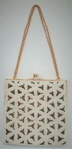 "Vintage Beaded Evening Bag Purse by Walborg Hong Kong 6 1/2"" Square"