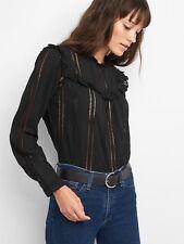 GAP Eyelet Riffle Shirt, Black, Size Small, S, NWT