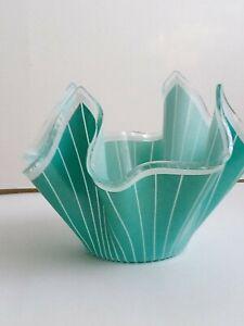 Vintage Glass 1960  Hankerchief Vase Bowl - Green