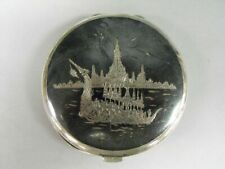 VINTAGE STERLING SILVER SIAM POWDER COMPACT