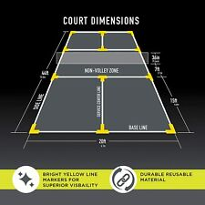Franklin Sports ~ Pickleball Court Marker Kit ~ Full Set ~ Bright Yellow