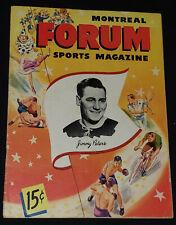 1947/48 - MONTREAL CANADIENS vs BOSTON BRUINS - MONTREAL FORUM - PROGRAM