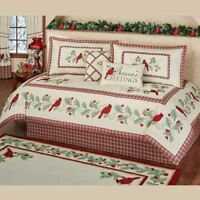 Red Bird Cardinal Daybed CoverSet Christmas Plaid Holiday Bedding 6 PC Set Ecru