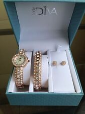 NIB LADY DIVA Crystal Accented Cuff Watch w/ Bangle Bracelet & Stud Earrings Set