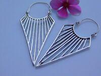 Brass Tribal Ethnic Gypsy Earrings Boho Spirals Hoops Indian Mandala Hippy small