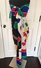 Vintage Andrea Pfister Large Cotton Scarf Wrap Sarong Paint Palette EC Italy